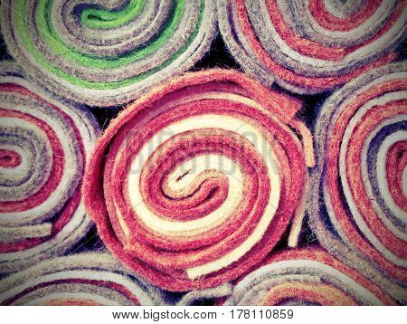 Rolls Of Cloth And Felt In The Shop With Vintage Effect