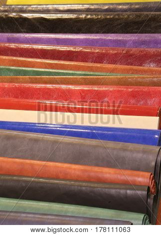 Background With Pieces Of Italian Leather Tanneries