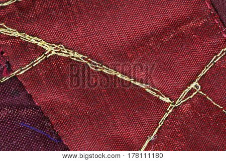 Embroidered With Gold Thread On The Fine Fabric Of A High Fashio