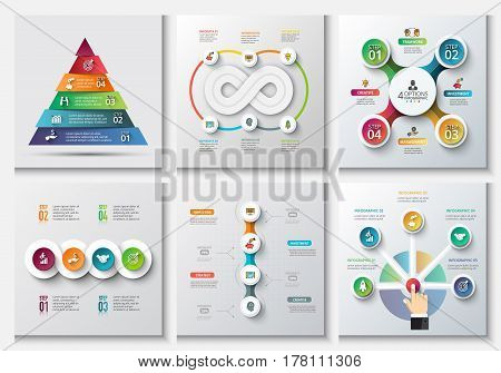 Business data visualization. Process chart. Abstract elements of graph, diagram with 4, 5 and 6 steps, options, parts or processes. Vector business template for presentation. Creative concept for infographic.