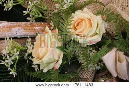 Floral Decoration With Roses And Leaves
