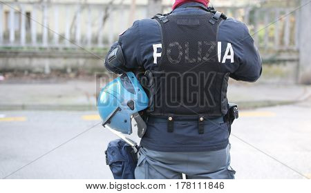Italian Police In Riot Gear With The Words Polizia That Means Po