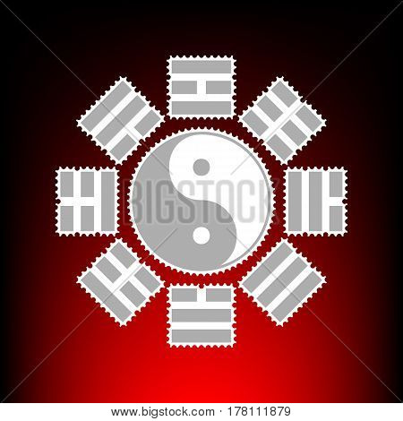 Yin and yang sign with bagua arrangement. Postage stamp or old photo style on red-black gradient background.