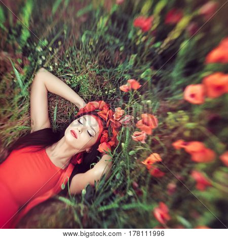 Portrait of goorgeous woman laying on flower poppy field in summer. Attractive mixed race asian caucasian girl in red dress resting on nature with closed eyes. Top view creative shot