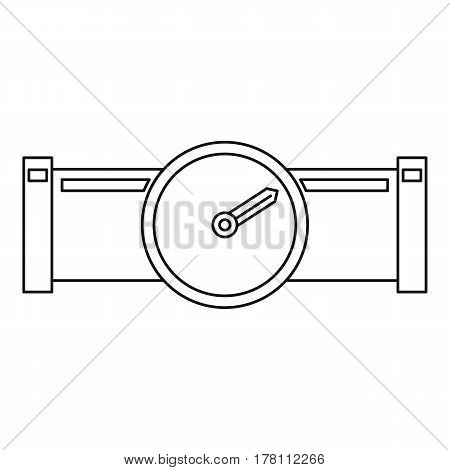 Pipe with water meter icon. Outline illustration of pipe with water meter vector icon for web