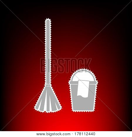 Broom and bucket sign. Postage stamp or old photo style on red-black gradient background.