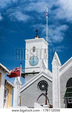 The historic St Peters church in St George's Bermuda at noon time on a sunny day.