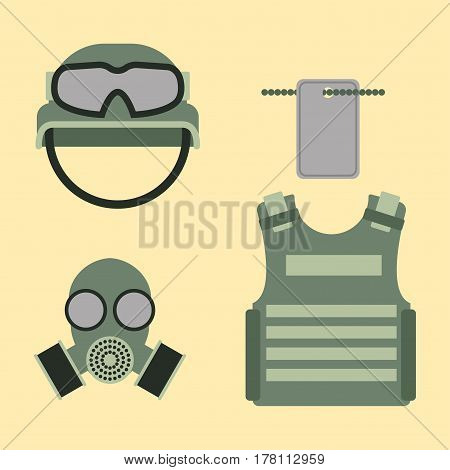Military american fighter ammunition navy camouflage sign and weapon guns symbols armor set forces design vector illustration. Uniform battle sniper automatic special tools.