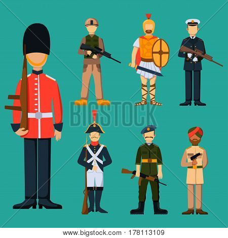 Military soldier character weapon symbols armor man silhouette forces design and american fighter ammunition navy camouflage sign vector illustration. Uniform battle sniper special cloth.