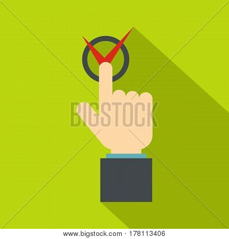 Hand finger pressing button with red tick icon. Flat illustration of hand finger pressing button with red tick vector icon for web isolated on lime background