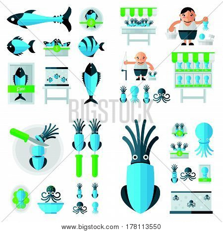Infographic Squid And Sea Food Set Blue, Green Color