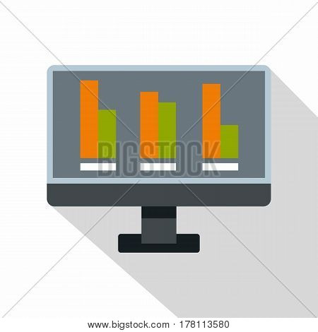 Bar graph on the screen of computer icon. Flat illustration of bar graph on the screen of computer vector icon for web isolated on white background