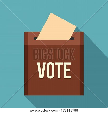 Brown ballot box for collecting votes icon. Flat illustration of brown ballot box for collecting votes vector icon for web isolated on baby blue background