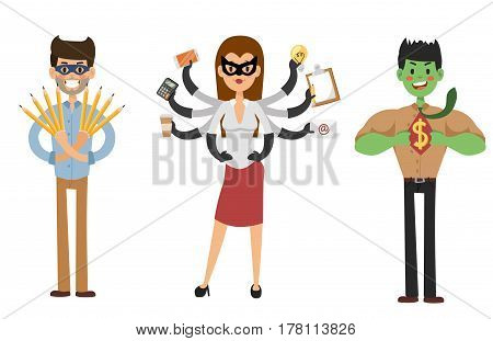 Superhero business man and business woman vector set. Super people in business illustration. Super hero in office life. Superhero flying, business success people