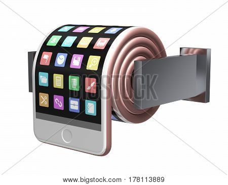 Concept Of Smartphone Like A Toilet Roll. 3D Illustration.