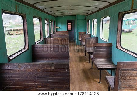 Interior of the old Soviet-era narrow-gauge railway car