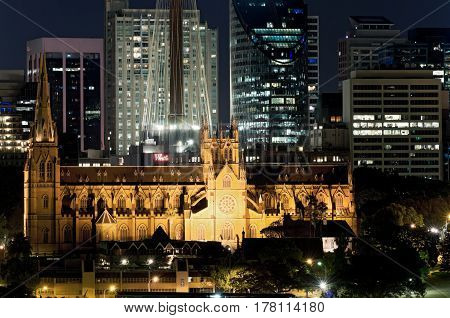 SYDNEY, AUSTRALIA - NOVEMBER 5, 2016: St. Mary's Cathedral represents the spiritual origins of the Catholic Church in Australia and sits in the center of Sydney's business district.