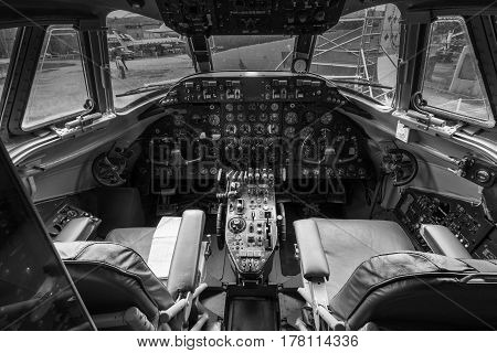 WEYBRIDGE SURREY UK - AUGUST 9 2015: Interior view of a vintage Vickers 806 Viscount aeroplane cockpit at Brooklands Motor Museum in August 2015.