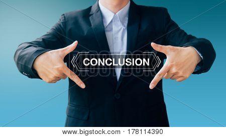Business Man Show Hand Sign, Digital Online Concept