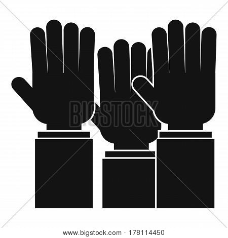 Different people hands raised up icon. Simple illustration of different people hands raised up vector icon for web