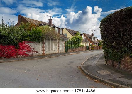 Quiet street in the area of Alfington in Exeter. On the stone fence grows ivy red. Devon. England