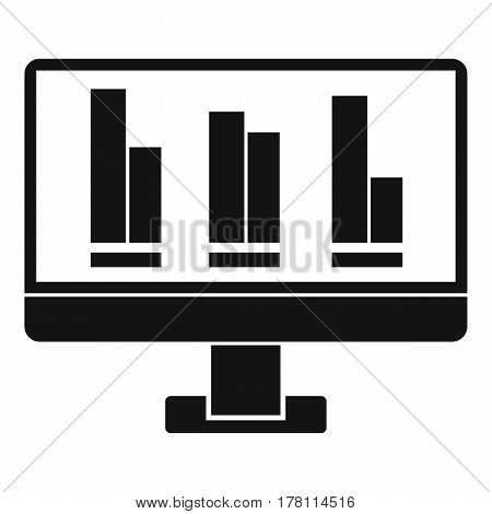 Business graph at computer screen icon. Simple illustration of business graph at computer screen vector icon for web