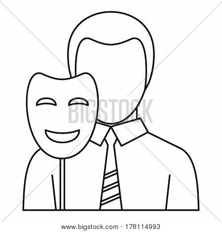 Businessman holding disguise mask icon. Outline illustration of businessman holding disguise mask vector icon for web
