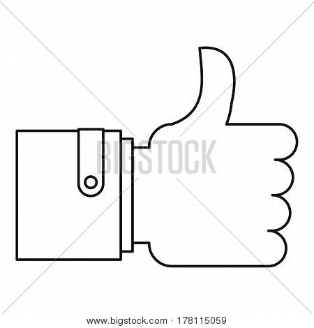 Approval and like sign icon. Outline illustration of approval and like sign vector icon for web