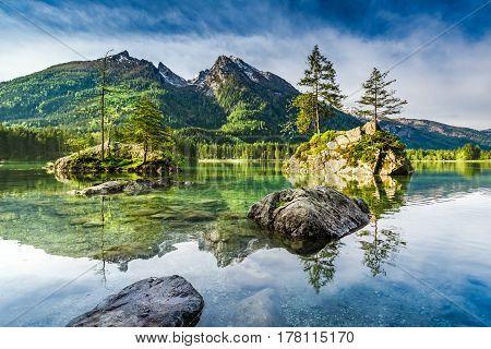 Wonderful Sunrise At Hintersee Lake In Alps, Germany, Europe