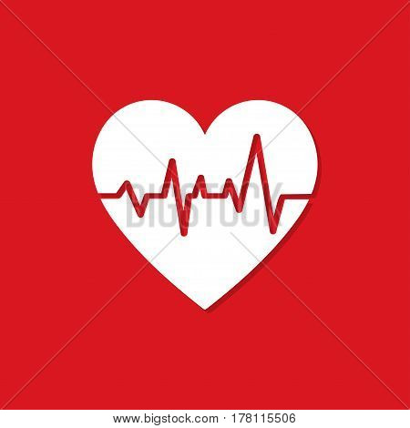 Heart with heartbeat icon with shadow on a red background