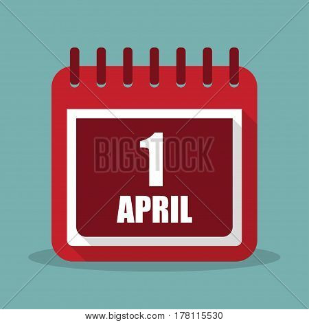 Calendar with 1 april in a flat design. Vector illustration