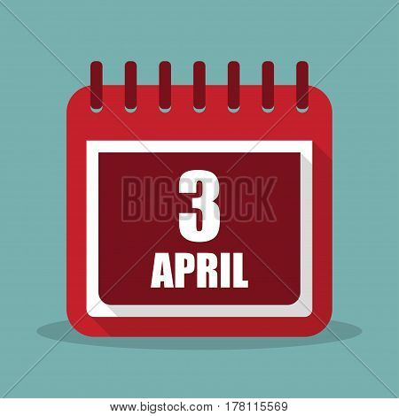 Calendar with 3 april in a flat design. Vector illustration