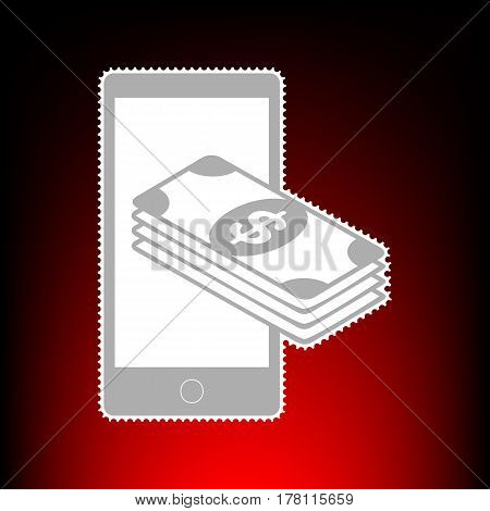 Payment, refill your mobile smart phone, . Postage stamp or old photo style on red-black gradient background.