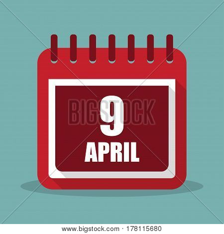 Calendar with 9 april in a flat design. Vector illustration