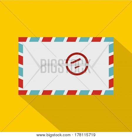 Postage envelope with stamp icon. Flat illustration of postage envelope with stamp vector icon for web isolated on yellow background