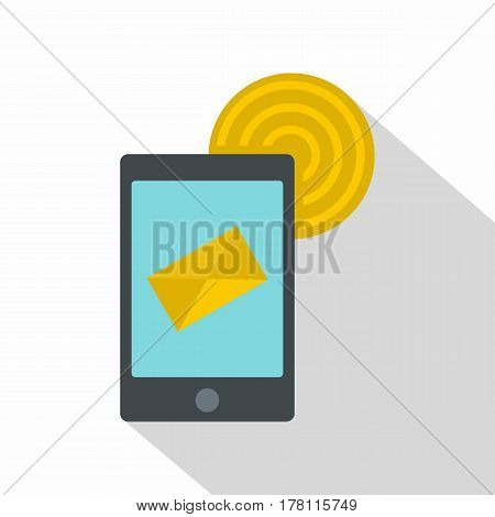 Smart phone sending email icon. Flat illustration of smart phone sending email vector icon for web isolated on white background
