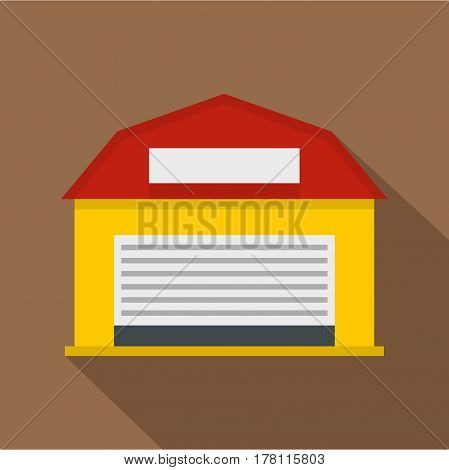Hangar icon. Flat illustration of hangar vector icon for web isolated on coffee background