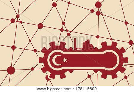 Flag of the Turkey build in gear. Heavy industry relative image. Molecule And Communication Background. Vector brochure or report design template. Connected lines with dots.