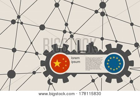 Economic relations between China and Europe. Heavy industry relative image. Molecule And Communication Background. Vector brochure or report design template. Connected lines with dots.