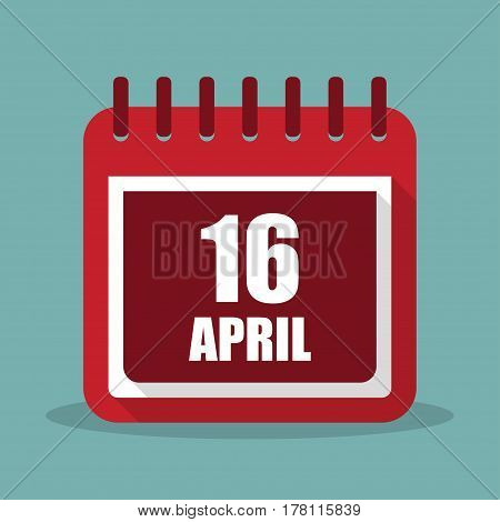 Calendar with 16 april in a flat design. Vector illustration