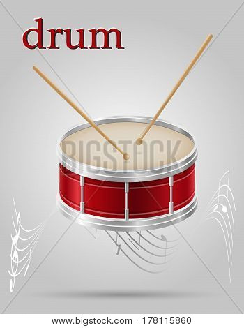drum musical instruments stock vector illustration isolated on gray background
