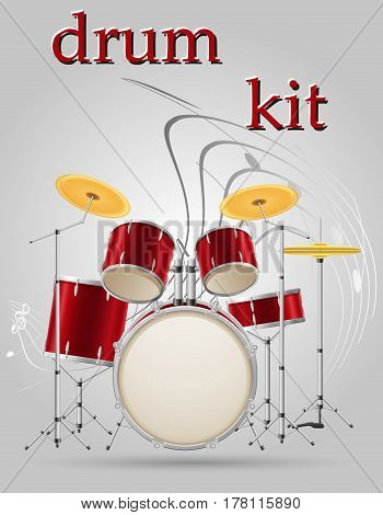 drum set kit musical instruments stock vector illustration isolated on gray background