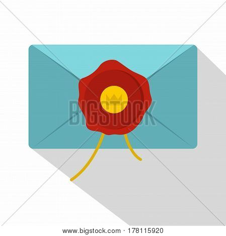 Blue envelope with red wax seal icon. Flat illustration of blue envelope with red wax seal vector icon for web isolated on white background
