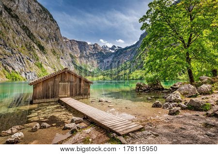 Small Wooden Cabin At Obersee Lake In German Alps, Europe
