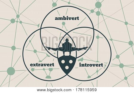 Extravert, introvert and ambivert metaphor. Image relative to human psychology. Silhouette of the balancing man. Molecule And Communication Background. Connected lines with dots.
