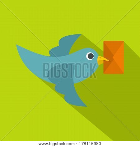 Dove carrying envelope icon. Flat illustration of dove carrying envelope vector icon for web isolated on lime background