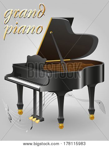 grand piano musical instruments stock vector illustration isolated on gray background