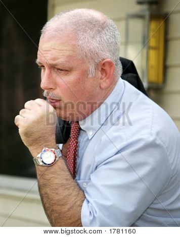 Mature Man Coughing