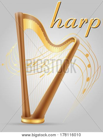harp musical instruments stock vector illustration isolated on gray background