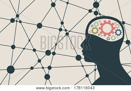 Silhouette of a man's head with gear. Mental health relative brochure, report or flyer design template. Scientific medical designs. Connected lines with dots. Vector illustration